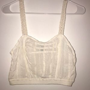Urban Outfitters Tops - Urban Outfitters White Eyelet Crop Top